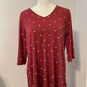 Red and white polka dot boutique top